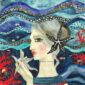 cuscino_dipinto_a_mano-divinità femminile-mare-stella_marina_blu-donna-fondali-abissi-oceano-coralli-federa_dipinta-su_commissione-home_decor_boho-blu-rosso-onde-pesci
