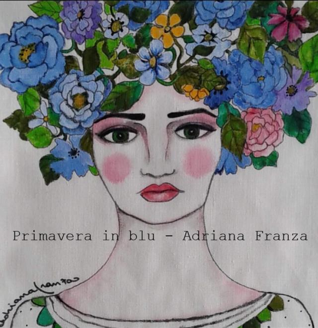cuscino_dipinto-unico-homedecor-toni_di_blu-primavera-donna-fiori-preraffaelliti-dipintoamano-federa_dipinta-regalo-originale