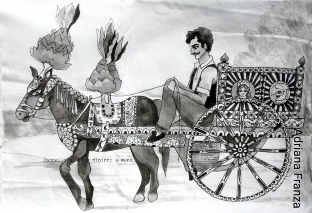 cuscino_dipinto-pezzo_unico-carretto_siciliano-cavallo_bardato-nappe-fichi_d'india-ruota-carro-barocco-festa_di paese-bianco_e_nero-souvenir_artistico-ricordo_di_sicilia-regalo-noto