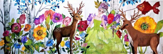 quadro_su_cotone-fiaba-primavera-fata-bosco-magiche_atmosfere-cervi-bosco_incantato-fiori_giganti-lucyintheskywithdiamonds