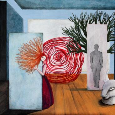 arianna_e_teseo-quadro_surrealista-minotauro-labirinto-mitologia-liberazione-intelligenza_femminile-femminismo_toro-museo-architettura-Asterione-spirale