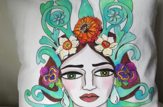Autunno Jugendstil - Federa in cotone 40x40 dipinta a mano