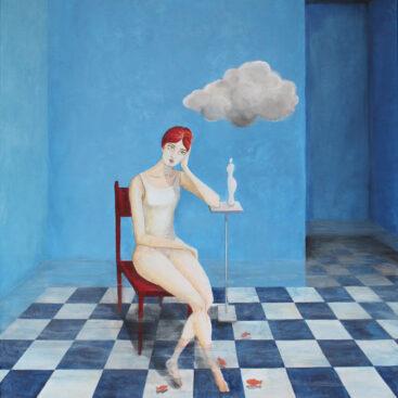quadro_surrealista-donna_pensierosa-stanza_allagata-nuvola_in_una_stanza-scacchiera_blu-pesci_rossi