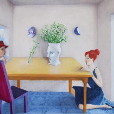 quadro-surrealista-ceramica-siciliana-storia-d'amore-diffidenza-nienteèimpossibile