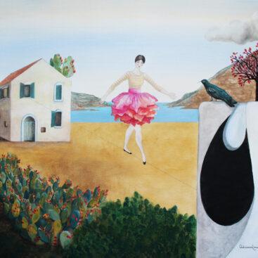 quadro_surrealista-circo-acrobata-ballerina-pittura_naive-emigrazione-sicilia-fichi_d'india-origini-trasferimento