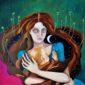 Notte-quadro_surrealista-madre_e_neonato-neomamma-stanchezza-donna_con_occhiaie-amore_per_i_figli