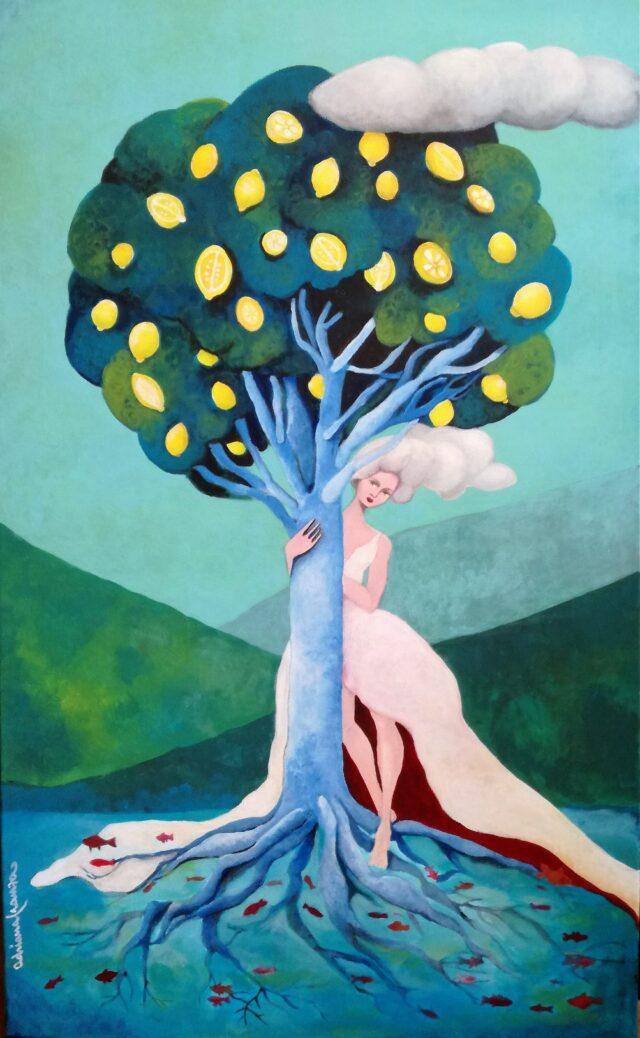 percezioni-quadro_surrealista_simbolismo-donna-sposa-acqua-natura-albero-limoni-sicilia-pesci_rossi-radici-testa_sulle_nuvole