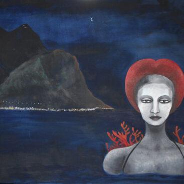 dipinto_surrealista-palermo-monte_pellegrino-mare-notte-eleonora_d'aragona-scultura-gagini-palazzo_abatellis-rinascimento-pittura_onirica-ricordi-coralli-quadro_metafisico