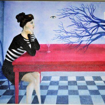 quadro-surrealista-occhio-volante-sovrappensiero-rami-monitor-malinconia-scacchi-donna