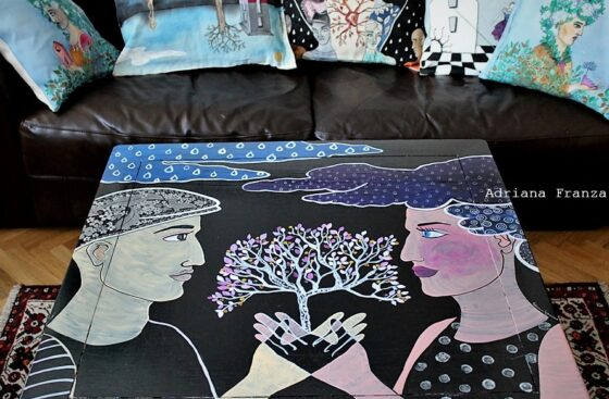 Unione - Decorazione pittorica su tavolo in legno.