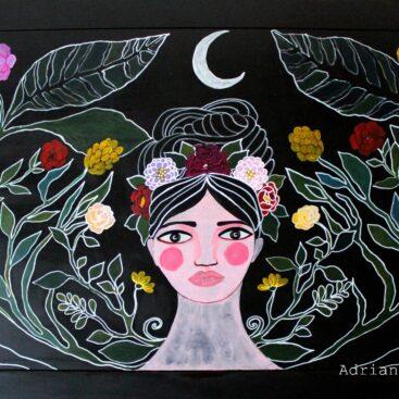 Viso femminile con luna - Decorazione di un tavolo in legno