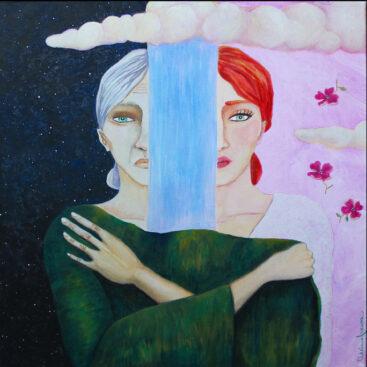 surrealismo-quadro_surrealista-coesistenza-madre_figlia-giovane_anziana-scuro_chiaro-fertilità-luce_buio-sdoppiamento-polarità-notte_giorno-opposizione-unione