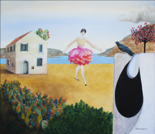 Sicily-surrealist-painting-dream-symbolism-emigration-ballerina-prickly_pears