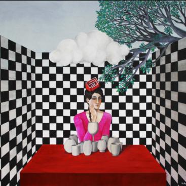quadro-scacchiera-piastrelle-bianco-e-nero-albero-labirinto-donna-bicchieri-malinconia