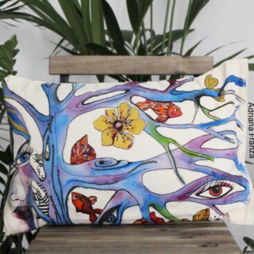 cuscino_dipinto_a_mano-pezzo_unico_homedecor__multicolor-simbolista-fiaba-autunno-natura-occhi-incantesimo-regalo-originale