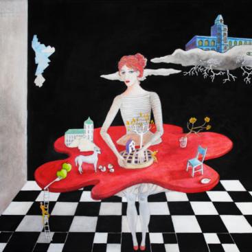 crostata-cucinare-quadro surrealista-donna-cucina-tavolo-gonna,cane,mele,scacchi
