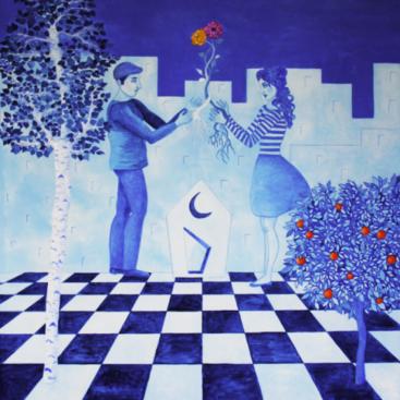 surrealismo-simbolismo-quadro_surrealista-poetico-matrimonio-promessa-alleanza-patto-unione-nuova_vita-amore-relazione-uomo_donna-fiori-nuova_casa-scacchiera-destino-quadro_blu-radici-luna_blu