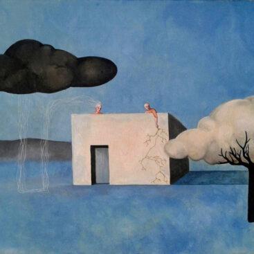 surrealismo-nuvole-alberi-parallelismo-natura-uomo-fulmini-pioggia-dipinto-surrealista-citando chema-madoz