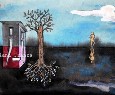 cuscino_dipinto_a_mano-homedecor_pezzo_unico_surrealismo-architettura-psicologia-realtà-inconscio-interiorità-polarità-occhi-albero-radici-regalo_casa-arredamento-design