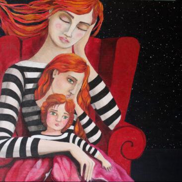 quadro_surreale-disegno_onirico-atmosfera_fiabesca-donna_dormiente-poltrona-notte-papavero-oppio-il_grande_sonno-interpretazione_dei_sogni-maglietta_a_righe