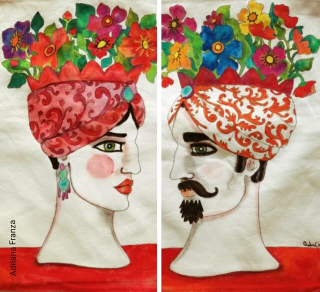 hand_painted_cushions-modern_moor_heads-turban-red_poppies-hand_painted-unique_gift-home_decor-sicily-original_pillow_cases- noto-sicilian_art_souvenir