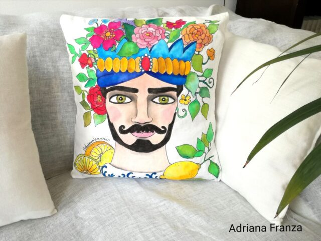 hand_painted_cushion-modern_moor_head-turban-lemons-flowers-hand_painted-unique_gift-home_decor-sicily-original_pillow_case- noto-sicilian_artistic_souvenir-yellow-blue