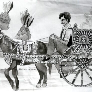 hand-painted_linen-single-piece_homedecor_multicolor-sicilian-folklore-sicily's_traditions-barded_horse-optical-prickly pears-painted_wheel-cart-baroque-village_fest-black_white-artistic-souvenir_of_sicily-gift_for_sicily_lovers