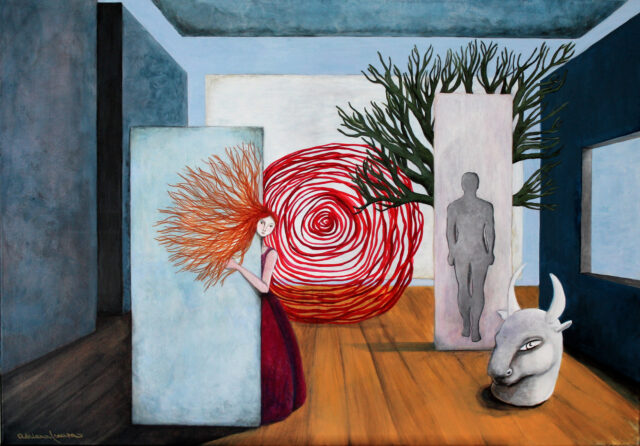 ariadne_and_theseus-surrealist-painting-minotaur-labyrinth-mythology-liberation-intelligence-female-feminism-bull-museum-architecture-Asterion-spiral