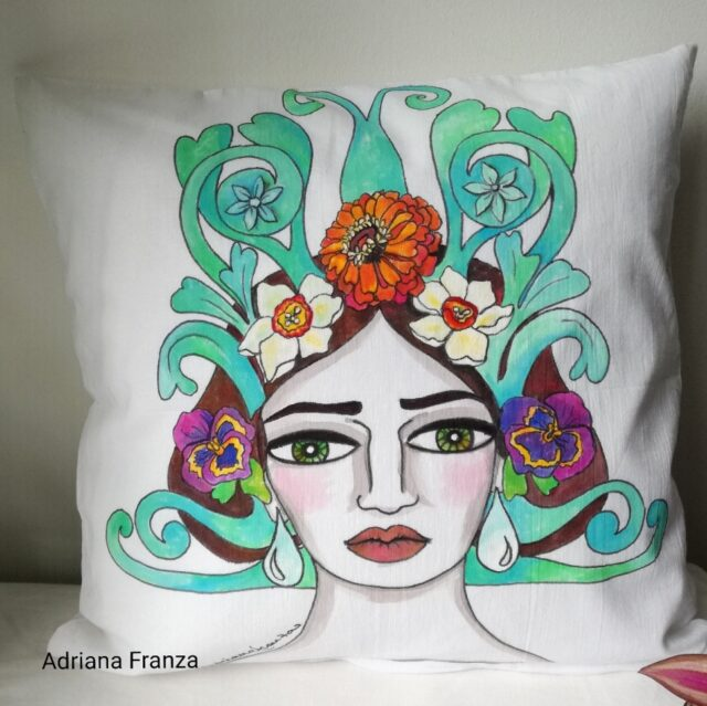 hand_painted_cushion-woman_head-grottesque-vienna-jugendstil-autumn_flowers-otto_wagner_liberty-hand_painted-unique_gift-home_decor-sicily-austria-original_pillow_case