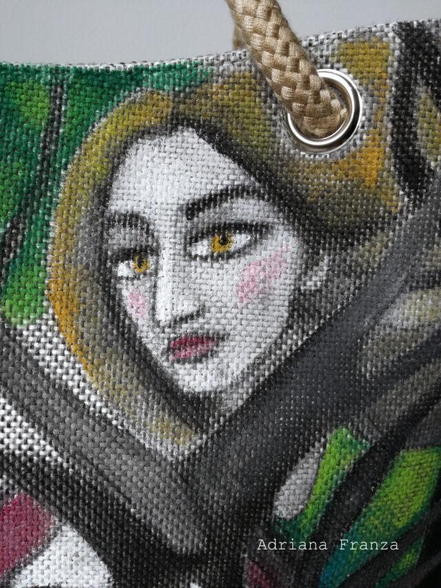 Shopper-dipinta-alberi-borsa-dipinta a mano-tela-unica_borsa_shopper_grande-alberi-visi-multicolor-borsa_quadro