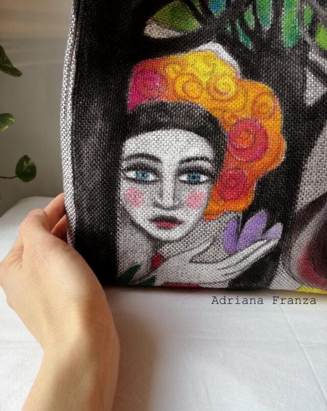 borsa-shopper-dipinta-a-manoborsa-dipinta a mano-tela-unica_borsa_shopper_grande-alberi-visi-multicolor-borsa_quadro