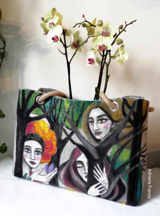 borsadipinta-shopper-artistica-borsa-dipinta a mano-tela-unica_borsa_shopper_grande-alberi-visi-multicolor-borsa_quadro