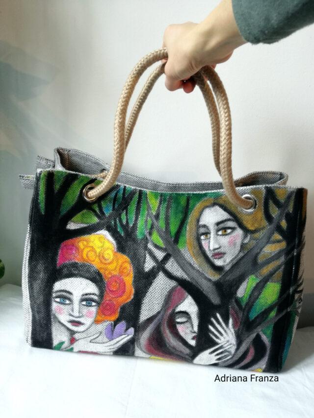 borsa-dipinta-borsa-dipinta a mano-tela-unica_borsa_shopper_grande-alberi-visi-multicolor-borsa_quadro