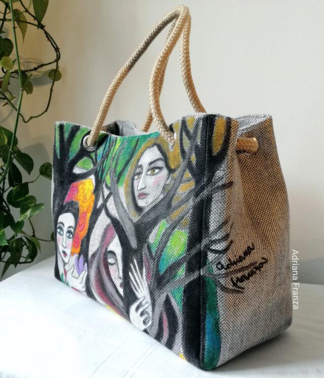 borsa-grande-dipinta-borsa-dipinta a mano-tela-unica_borsa_shopper_grande-alberi-visi-multicolor-borsa_quadro