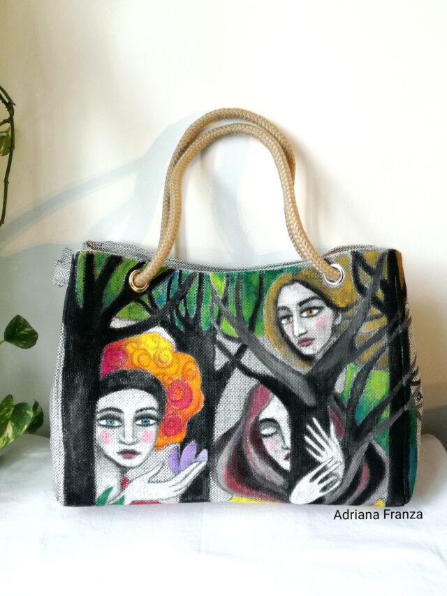 borsa-dipinta a mano-tela-unica_borsa_shopper_grande-alberi-visi-multicolor-borsa_quadro
