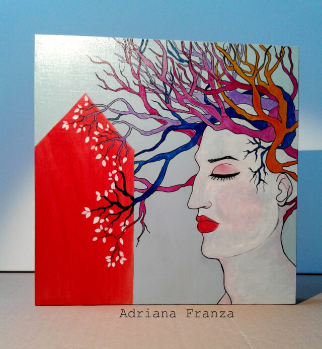 woman-female-profile-painting-surrealism-red-house-hair-backtomyroots