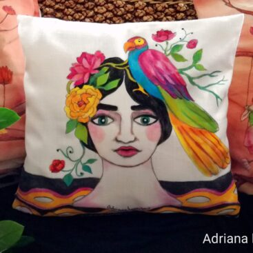 hand-painted_cushion-single-piece_homedecor_multicolor-tropical_summer-sun-nature-magic_parrot-flowers-whimsical-pillow_case-special_gift