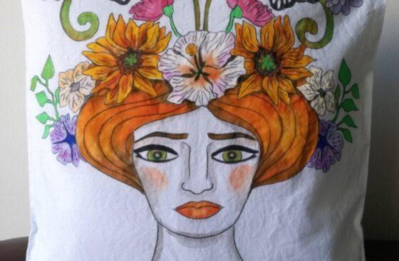 hand_painted_cushion-woman_head-grottesque-sicily-art_nouveau-sunflowers-butterflies-art_nouveau-hand_painted-unique_gift-home_decor-original_pillow_case