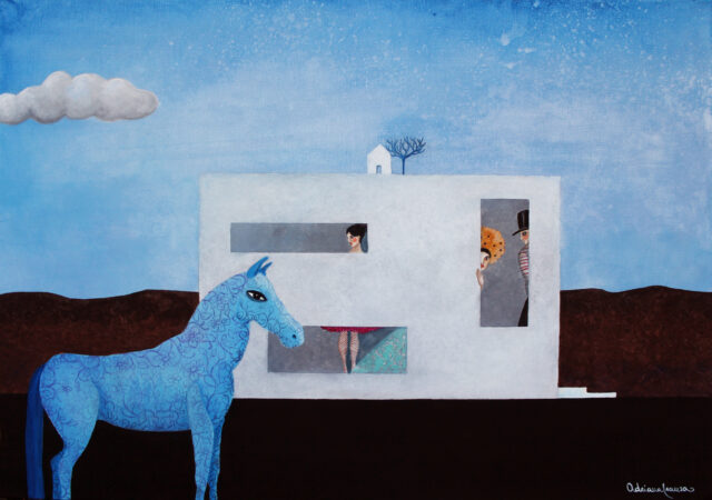 metaphysical-painting-barricades-circus-actors-shyness-blue-horse-painting_ freedom-joy_of_living-actors-masks-symbolism-architecture-hiding_oneself