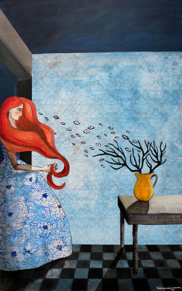 surrealist-painting-woman-hair-red-eyes-wind-interior-romantic-wallpaper-vintage-blue