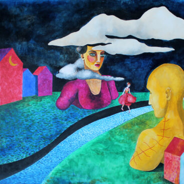 surrealist_painting-border-emigration-messenger-past-distance-change-the end of an era-river acrobat on the wire