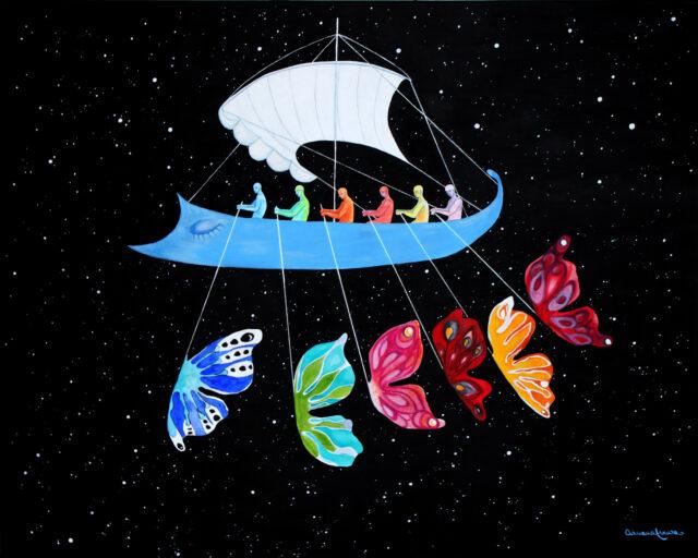 Greek trireme-ship-ancient-rowers-universe-stars-destiny-navigators-unknown-surrealist painting-butterflies-fly