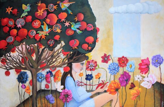 surrealist_painting-intimist_art-pregnant_woman-secret_garden-winter_garden-heart-birth-pregnancy-filial_love