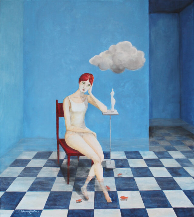 surrealist_painting-pensive_woman-flooded_room-cloud_in_a_room-blue_checkerboard-goldfish