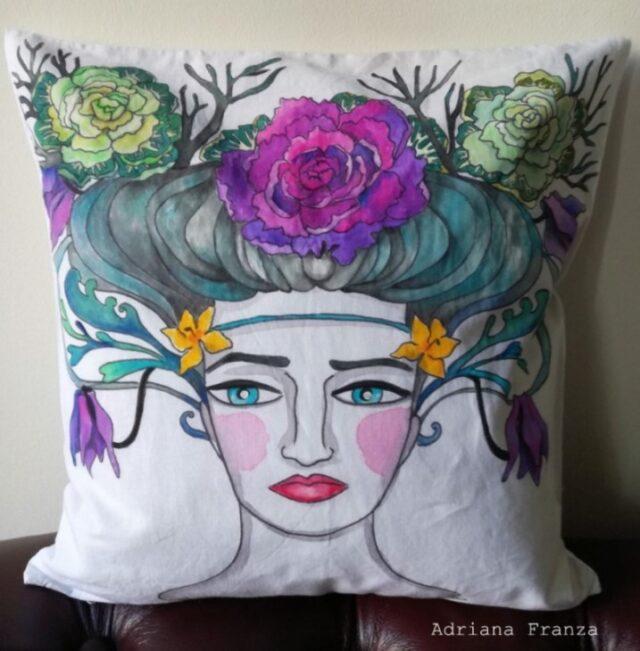 hand_painted_cushion-woman_head-grottesque-vienna-jugendstil-winter_flowers-klimt_inspires_liberty-hand_painted-unique_gift-home_decor-sicily-austria-original_pillow_case
