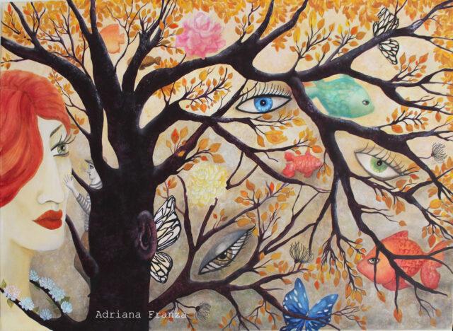 The caress-picture-symbolist-fairy tale-autumn-nature-eyes-magic