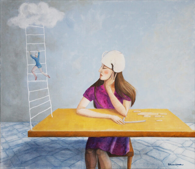surrealist-painting-breakfast-woman-table-cloud-conscience-fear-cup-straw-thoughts-reflections-dreamers