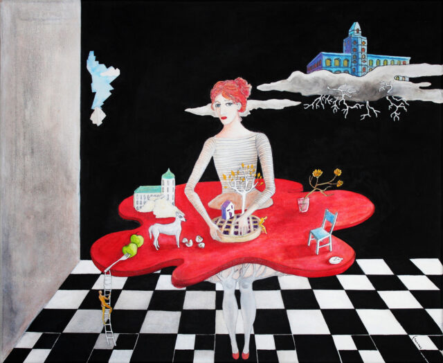 surrealist-painting-woman-kitchen,table-redskirt,-dog,apples,chess
