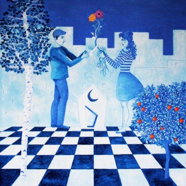 surrealism-symbolism-painting-surrealist-poetic-marriage-promise-alliance-pact-union-new_life-love-relationship-man_woman-bride-flowers-new_house-chessboard-destiny-blue_painting-total_blue-roots-bluemoon