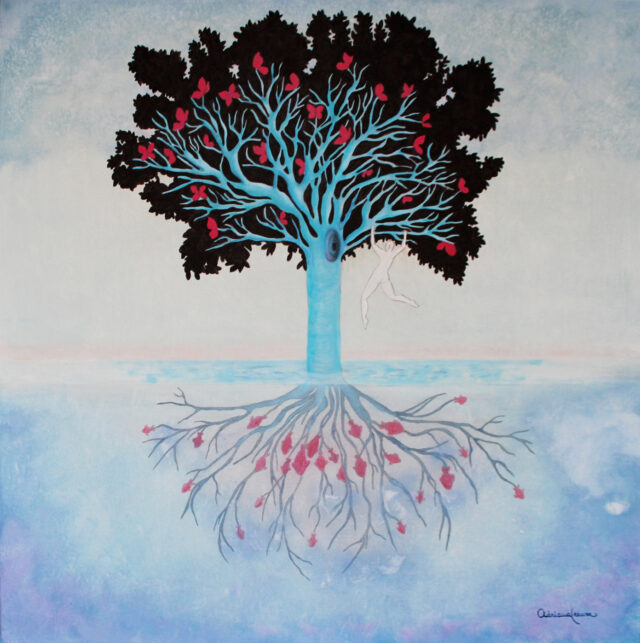 roots-in-water-goldfish-butterflies-self-consciousness-beatles-strawberryfieldsforever-branches-tree-of-life-painting